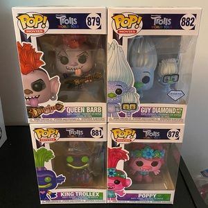 Set of 4 Trolls Funko Pops